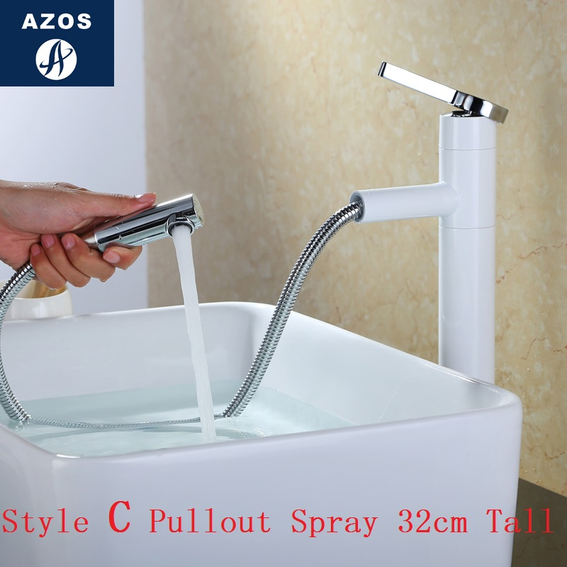 Bathroom Sink Faucets 32cm Tall Swivel Pull Out Hose Spray Single Handle White Porcelain Solid Brass Deck Mount Mixers Clmp018c