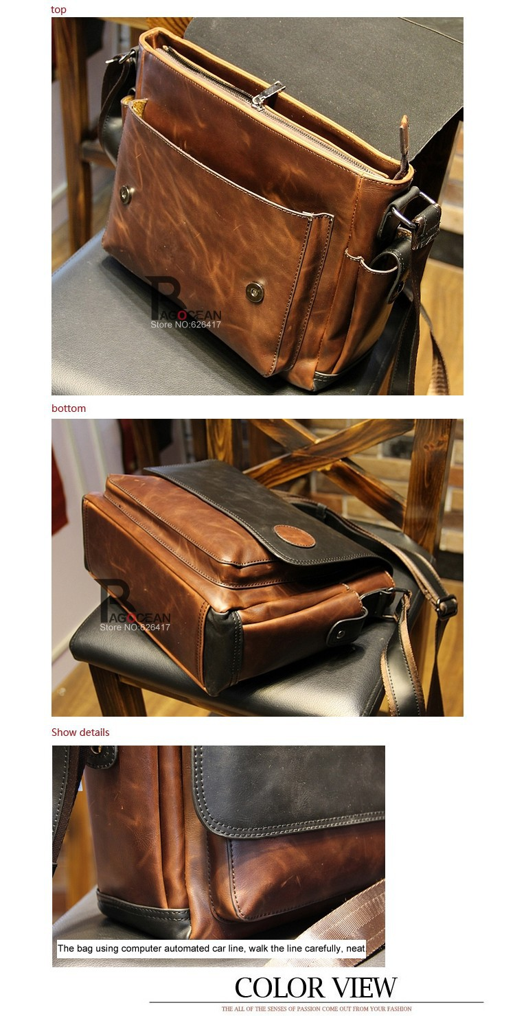 New Vintage Style Men Crazy Horse PU Leather Shoulder Travel Bags Cross Body Messenger Bags Students School Bag Casual Bags 25