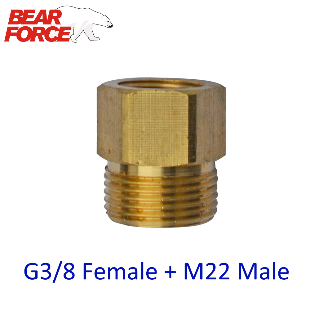 High Pressure Washer Car Washer Brass Connector Adapter  G3/8 Female + M22 Male