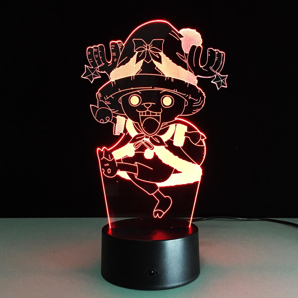 3D One Piece Tony Chopper Home Decor USB Lamp Flash Party Atmosphere Luminarias Touch 7 Colors Changeing LED Illusion Nightlight