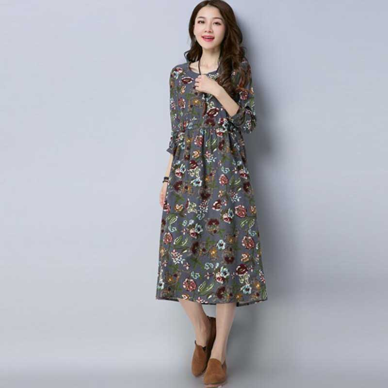 1aa0cb4753 Women Dress Vintage 2018 spring New Plus Size Women Clothes Loose Korean  Fashion Cotton and linen Robe Print Floral Warm Dress