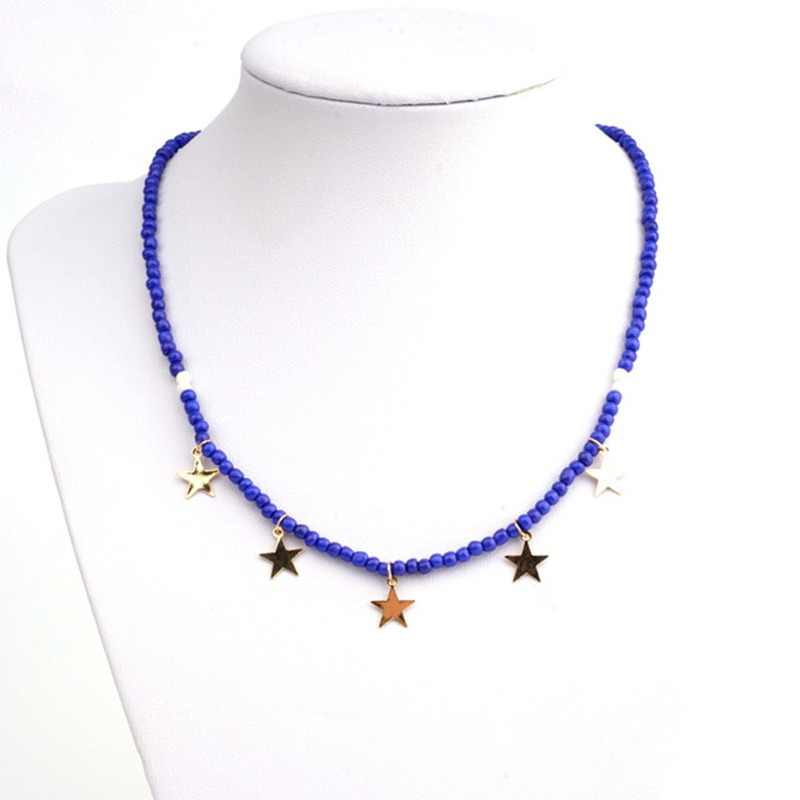 Bojiu Stars Pendant Necklace For Women Seed Bead Exquisite Necklace Festival Gifts Young New Jewelry For Christmas NKS116