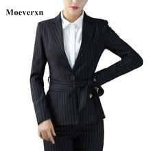 Blaser femenino 2017 autumn long sleeve bow tie striped women blazer black blue formal slim ladies work wear jackets brand new
