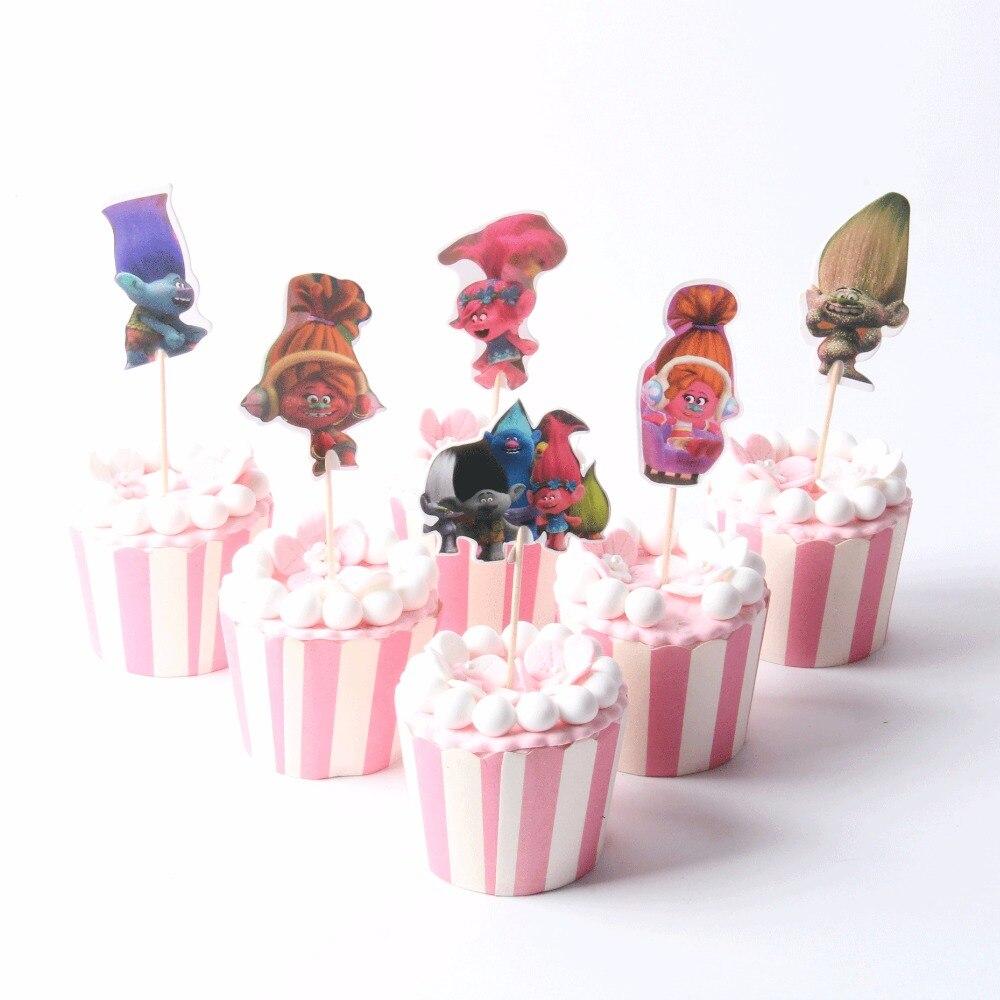 24pcs/lot Trolls Theme Cupcake Topper Baby Shower Party Supplies ...