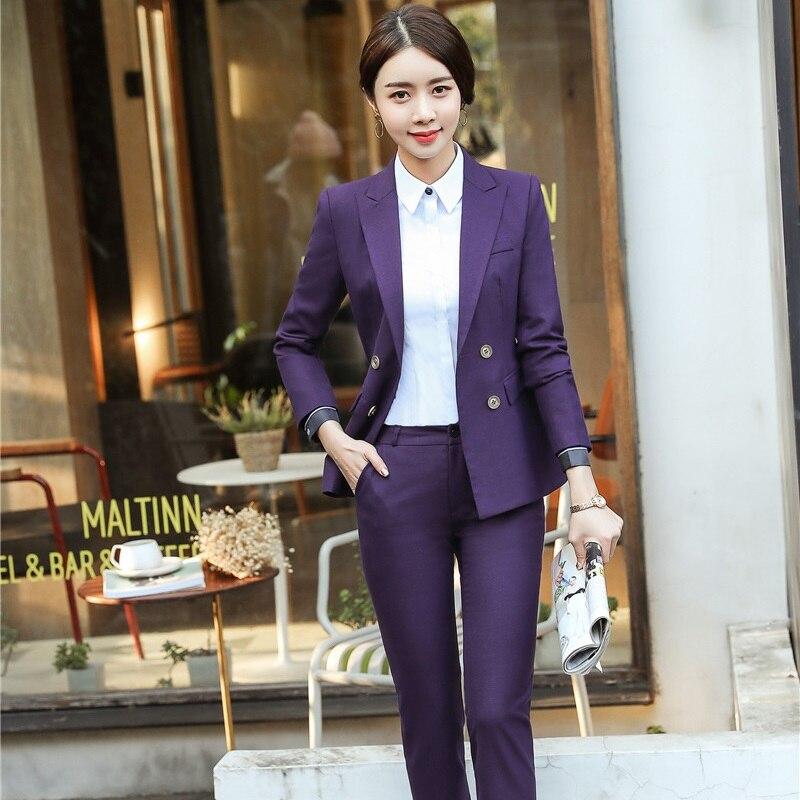 Ufficio Professionale Pezzi Pantaloni Blue Formale Uniforme E dark Purple Di Da Vestiti Tailleur 2 Giacche Pantalone Donna grey Disegni Con Magliette Camicette Set xFwqada4I