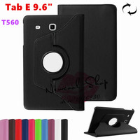 Tab E 9 6 360 Degree Rotating Folio PU Leather Case Flip Cover For Samsung Galaxy