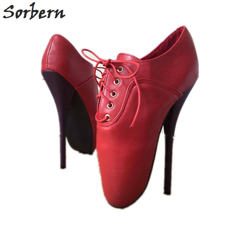 Sorbern Red Ballet High Heel Pumps Women 7 Inch Stilettos Lady Shoes Women Bdsm Crossdressing Shoe Pumps Painful Shoe New