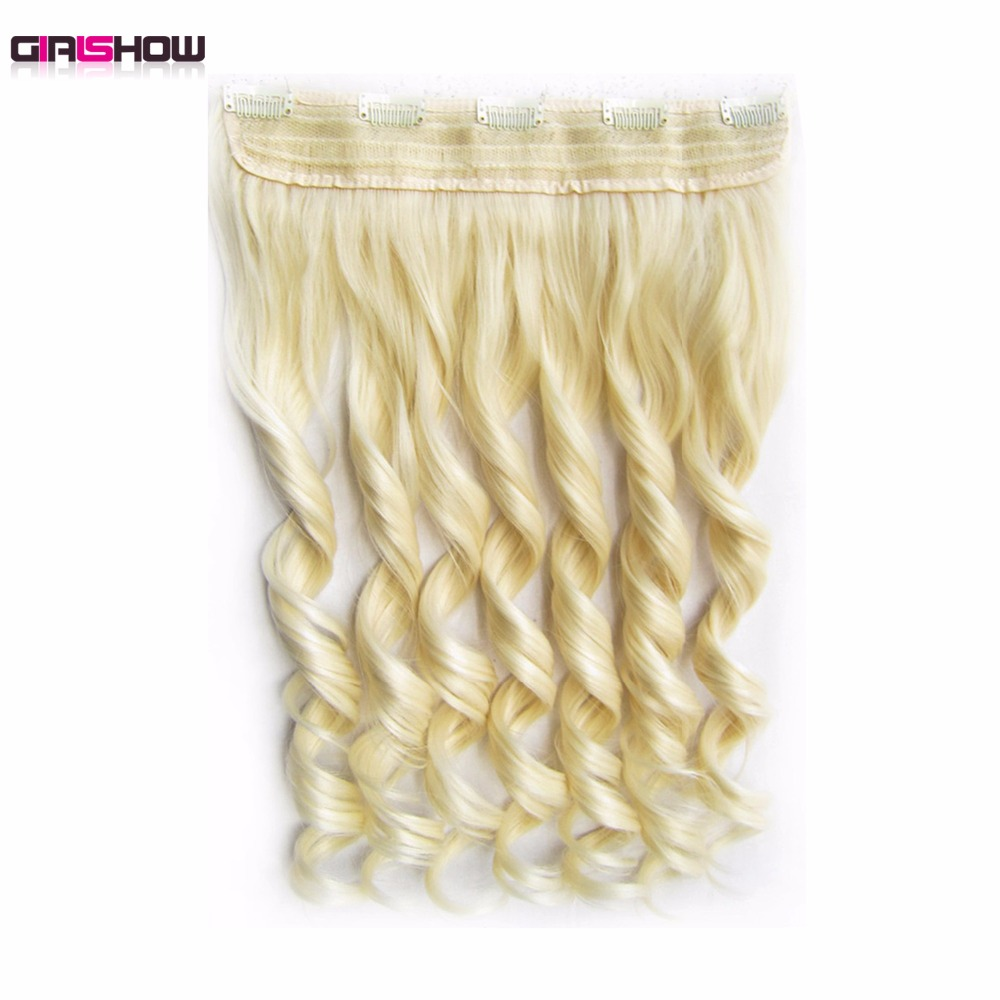 Girlshow 5 Clips In on Synthetic Hair Extensions Wavy Lady wig Hair Hairpiece ponytail 87 colors available,130g,60cm 1pc