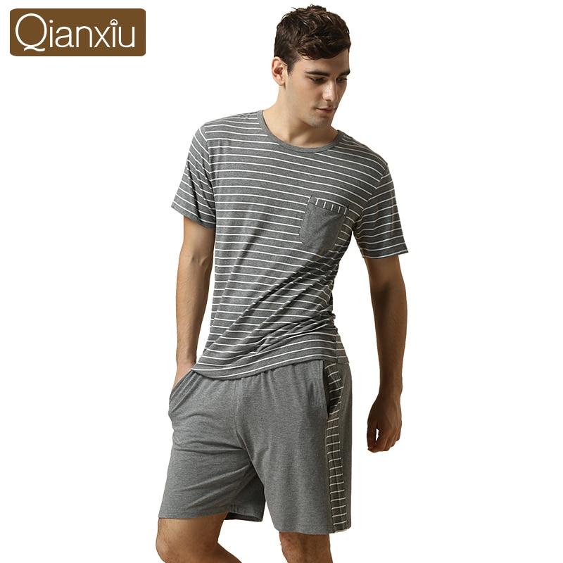 2017 Summer Brand Homewear Men Casual Striped Pajama sets Male O-neck Collar shirt & half pants Lovers Mo Cotton sleepwear Suit