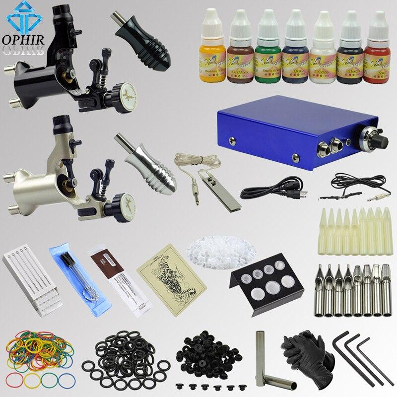 OPHIR Complete Tattoo Kit 2 Motor Rotary Tattoo Gun Machines 7x Ink Pigment Power Supply Tattoo Needle Nozzle Grip Set_TA067 ophir 2017 new pro tattoo kit 2 tatoo gun machine with grip needles 12x10ml ink 346pcs ta069