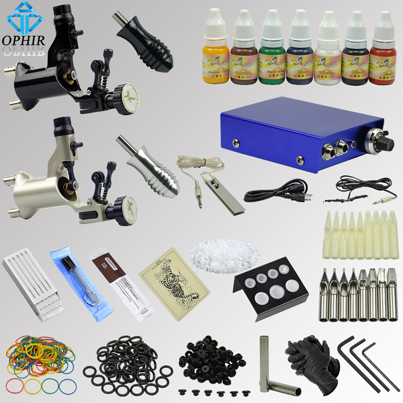 ∞ophir kit de tatouage complet 2 motor rotary tattoo gun machines