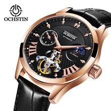 OCHSTIN Элитный бренд модные спортивные механические часы кожаный ремешок Для мужчин автоматические часы Horloges Mannen reloj hombre