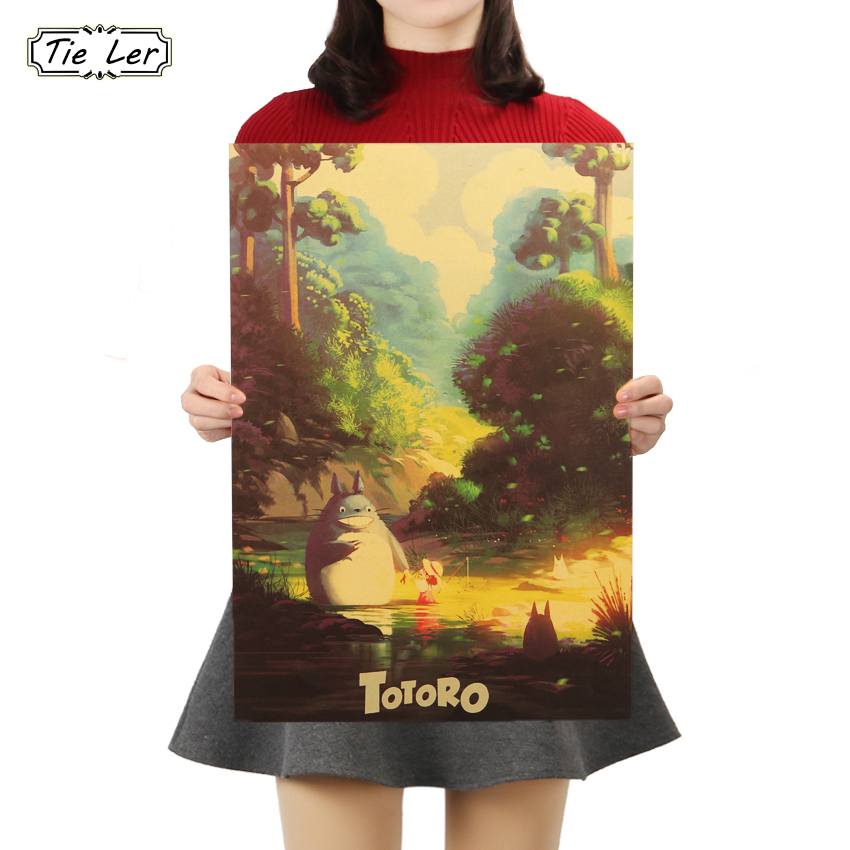 TIE LER Totoro H Style Kraft Paper Classic Cartoon Film Poster Home Decor Wall Sticker 50.5X35cm