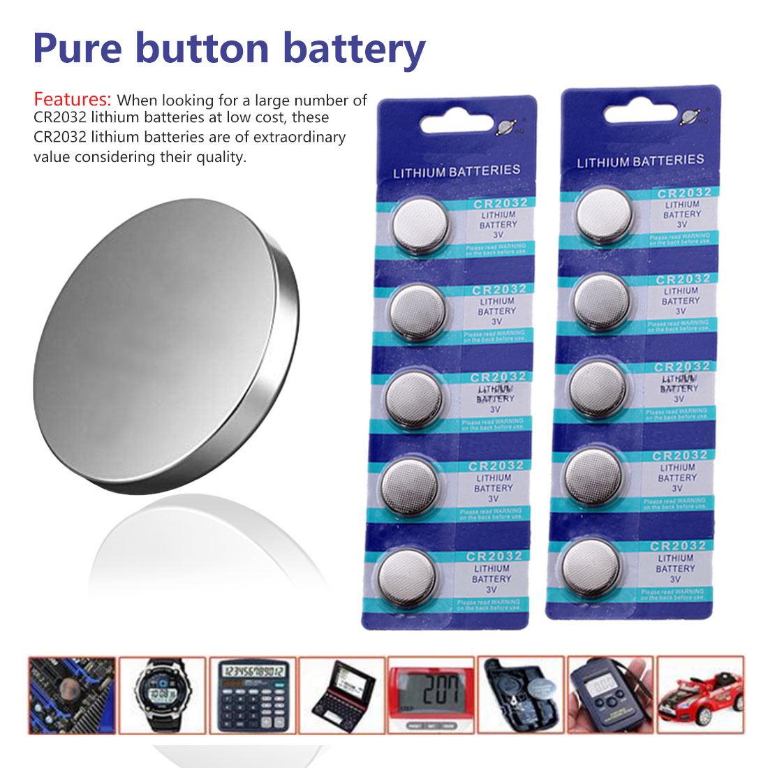 10pcs CR2032 battery 3V Lithium Button Cell Coin Batteries for Watch Computer Toy Scale Thermometer LED Night light in Button Cell Batteries from Consumer Electronics