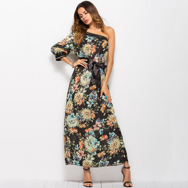cd3578c0d95 maxi Dress sexy evening party women casual 2018 long dress plus size Loose  black orange maxi beach floral dresses Summer