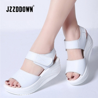 Women summer sandals shoes Split Leather Platform ladies white Casual Sandals shoe 2018 open toe Fashion High Heel footwear