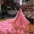 Роскошь 2017 Новое Прибытие Розовый Ручной 3D Цветы Старинные Арабский Sexy Формальные Длинные Поезд Вечерние Платья Выпускного Вечера Liyatt
