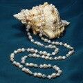 Venda quente dual-uso elegante camisola longa cadeia de pérolas naturais de água doce barroco branco colar de cristal de vidro moda jóias