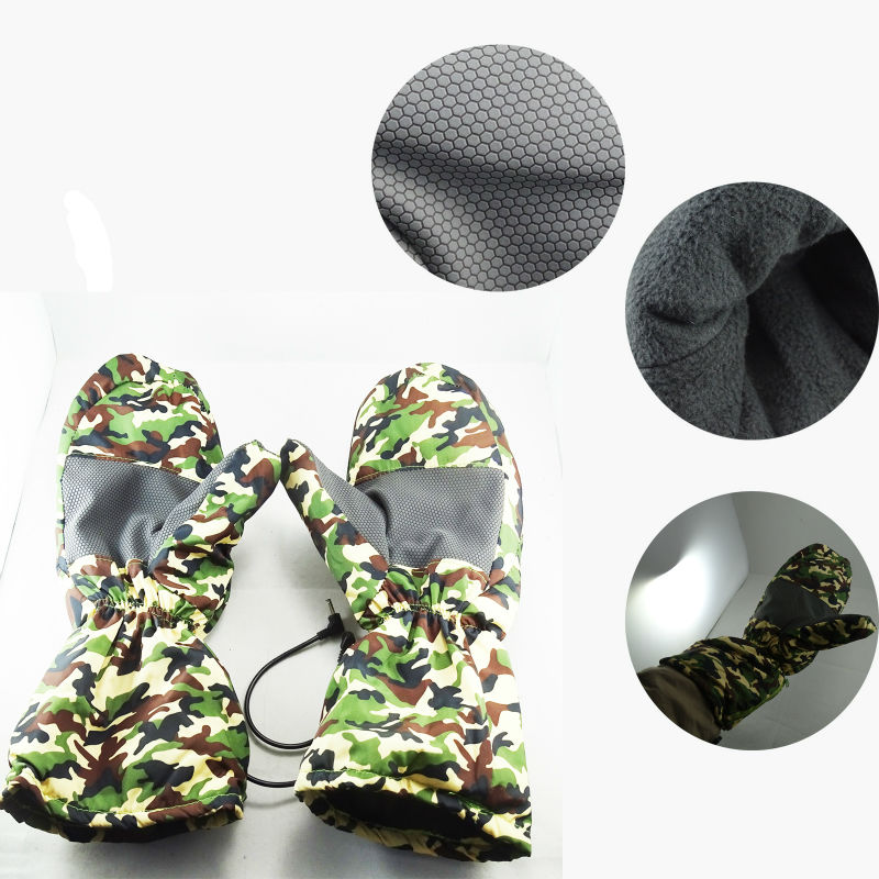 Winter Warming Motorcycle Gloves Electric Battery Heating Camouflage Mittens Heated GlovesChina Mainland