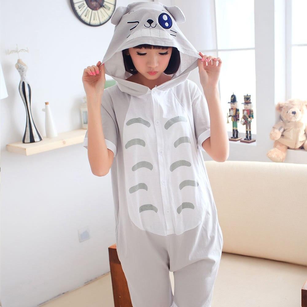 Kigurumi Onesie Unisex Adult Women Totoro Grey Pajamas Costume Animal Cosplay Summer Short Sleeve Cartoon Hoodie Sleepwear