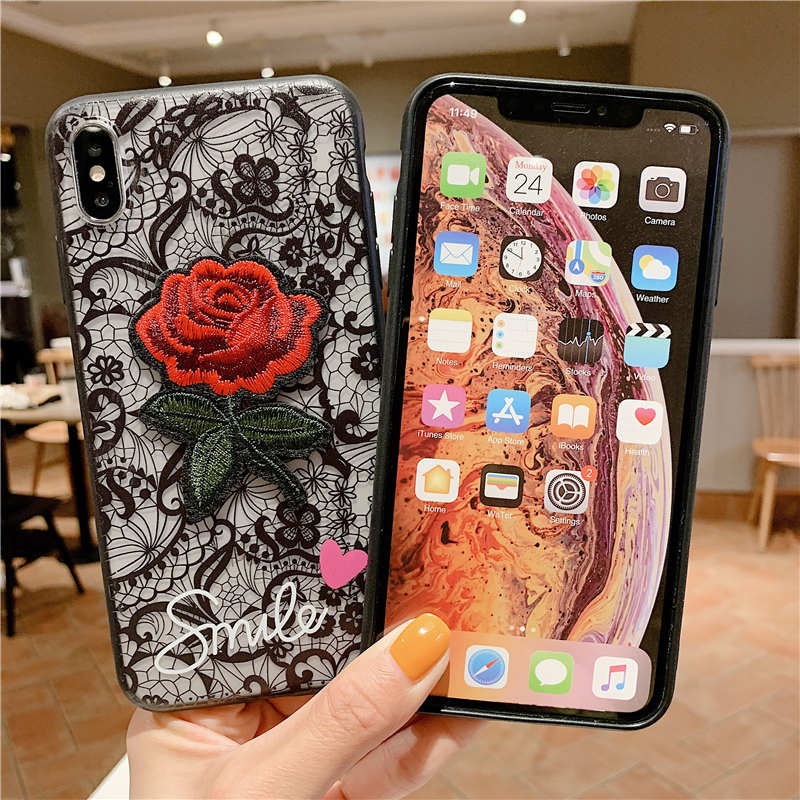 Fashion Lace Rose Flower Phone Case For iPhone X XS Max XR Case For iPhone 7 8 6 6s Plus 8plus 7plus Hard PC TPU Back cover in Fitted Cases from Cellphones Telecommunications