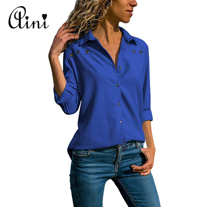 Plus Size 5XL Women Tops And Blouses 2018 Autumn Casual Solid Hollow Out Button Cotton Blouse Elegant Office Lady Female Shirts 4