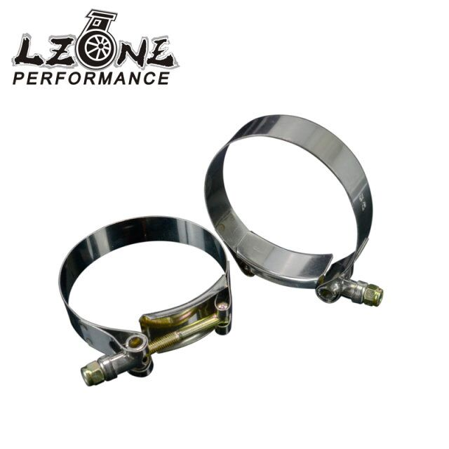 LZONE RACING - 2PC/LOT SS304 3 CALMPS (79-87)STAINLESS SILICONE TURBO HOSE COUPLER T BOLT CLAMP KIT HIGH QUALITY JR5254