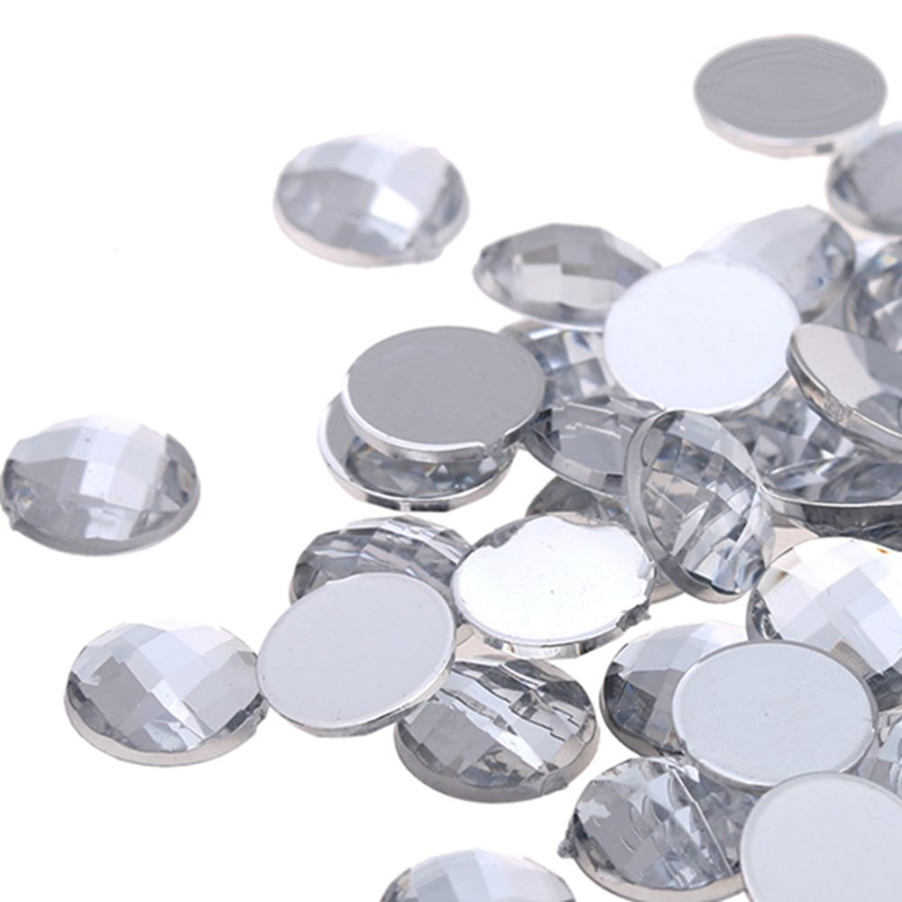 70 x 10mm Clear Rhinestone Diamante Stick On Self Adhesive GEMS Individual Round