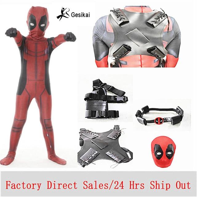 Hot Marvel Halloween Cosplay Full Bodysuit Male Deadpool Costume Adults Digital Print Lycra Costume Kids Deadpool Cosplay