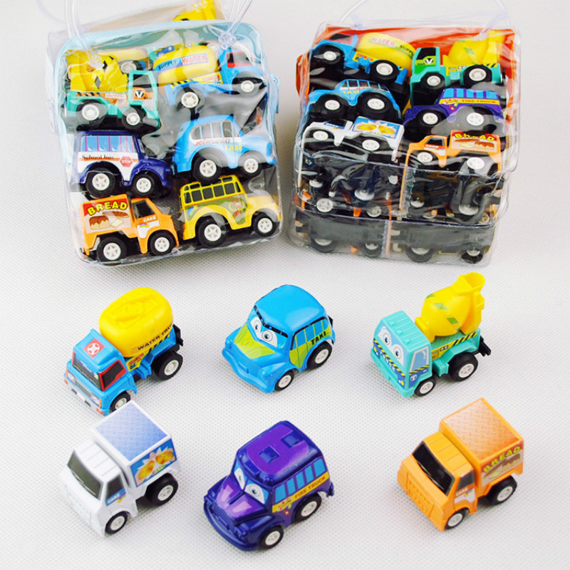 6pcs Toy Car Children Racing Car Baby Mini Cars Cartoon Pull Back Bus Truck Kids Toys For Children Boy Gifts
