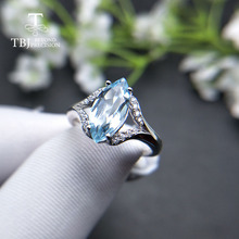 TBJ, дизайн натуральный Небесно голубой топаз 2.3ct драгоценный камень кольцо серебро 925 пробы хорошее ювелирное изделие для женщин мама хороший подарок