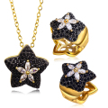Party accessories star women Jewelry Sets gold plated with Cubic zircon stone 2pcs sets ( necklace & earring ) Free shipment