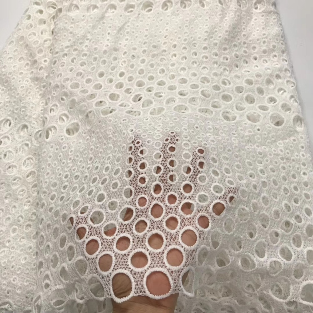 white colour milk silk 5yards water soluble lace fabric good quality guipure lace fabric for clothes rfno251