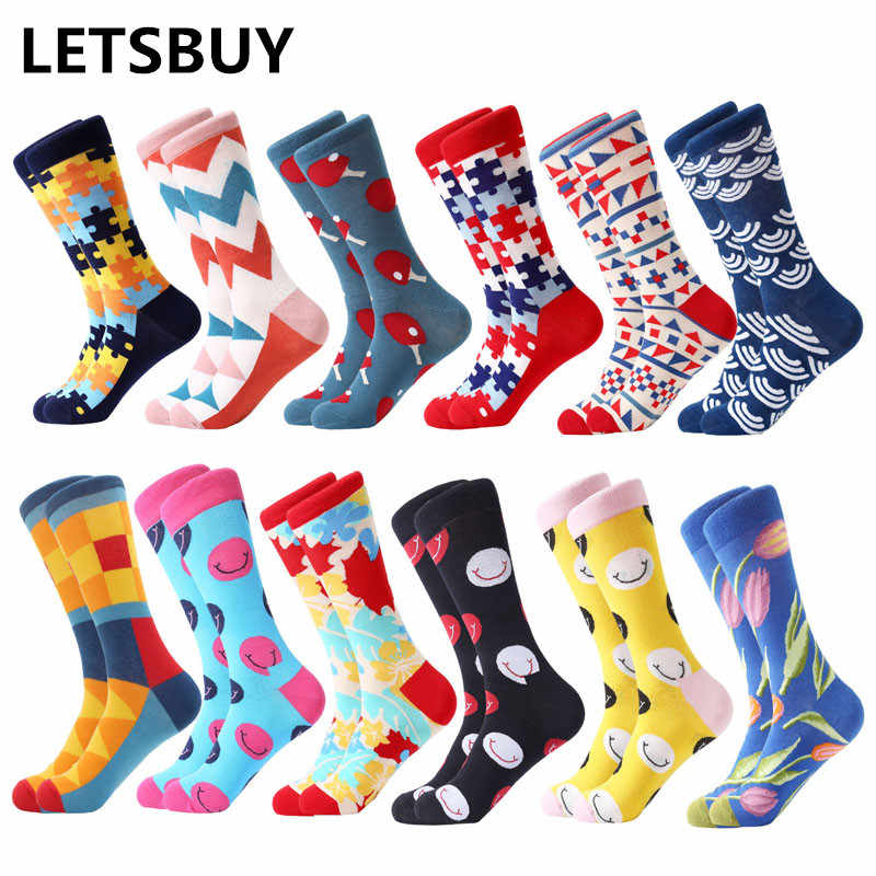 LETSBUY/12 пара/лот, забавные для мужчин, цветные хлопковые Свадебные носки для девочек, новый комплект одежды с фруктовым принтом, Повседневное платье с круглым вырезом для девочек