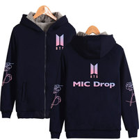 BTS MIC Drop Thicker Hoodies Sweatshirts Zipper Fashion Bangtan Boys Thicker Hoodies Women Men Zipper Casual