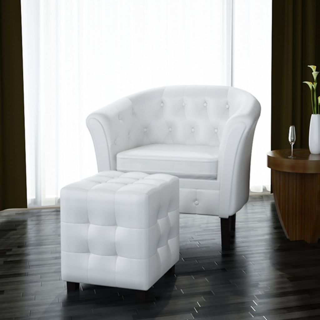 Aliexpress.com : Buy VidaXL Artificial Leather Tub Chair Armchair With  Footrest White From Reliable Tub Chair Suppliers On VidaXL Store