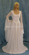 White Lace Gown Stage Elven Dress Medieval Cosplay Dress Handfasting Custom Made All Size