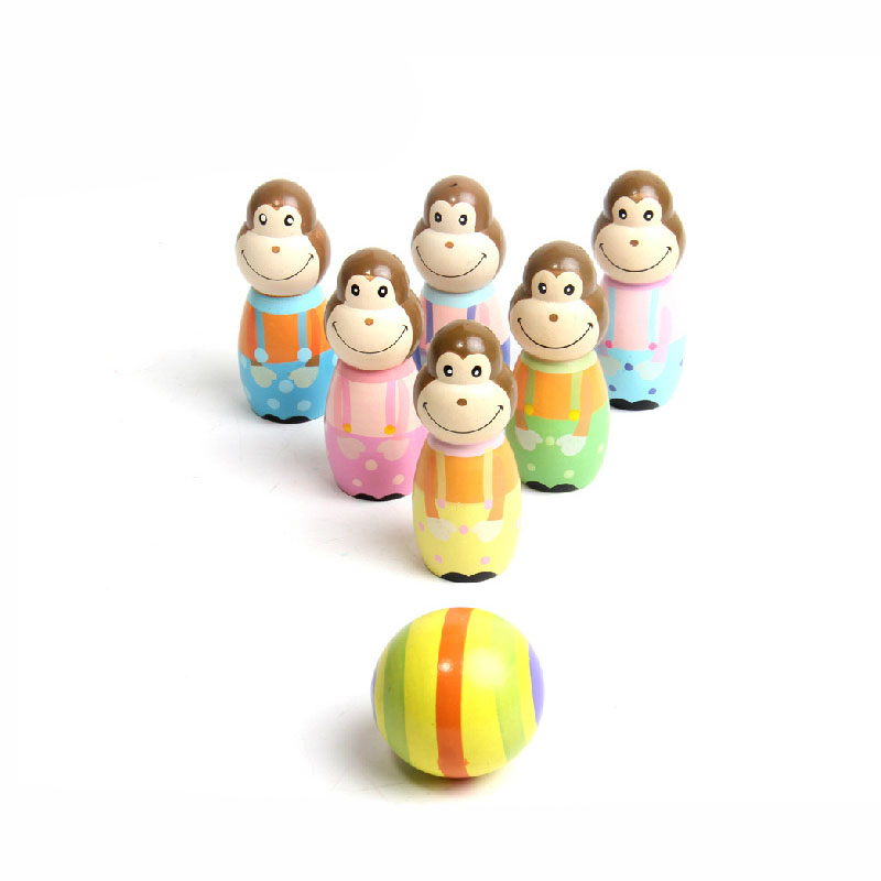 Children Toys Baby Sporting Cartoon Monkey Bowling Ball Game Wooden Indoor Outdoor Kids Educational Toy Gifts 88 NSV775