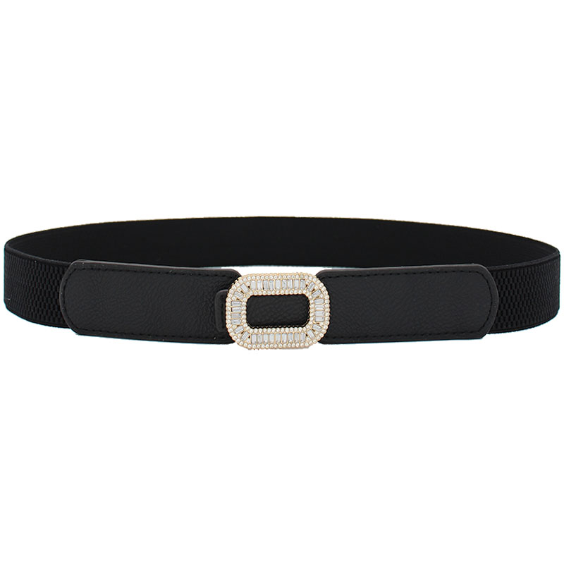 New Design Women Wide Elastic Waistband White Fashion Crystal Gold Alloy Buckle PU Leather Stretchy Waist Belts For Dress Black