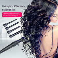 5 In 1 Hair Wand Curler 09 32mm Removable Cylindrical Conical Curling Iron Hair Roller Electric