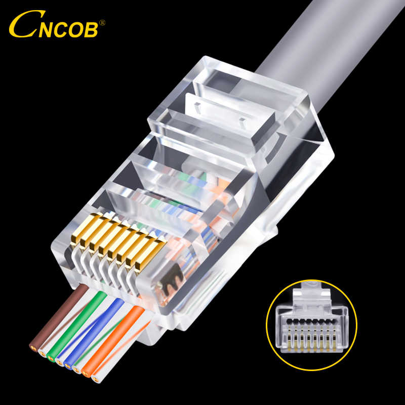 CNCOB Cat5e cable de red perforado conector rj45 conector de red a través de agujero 8P 8-core 100 Uds