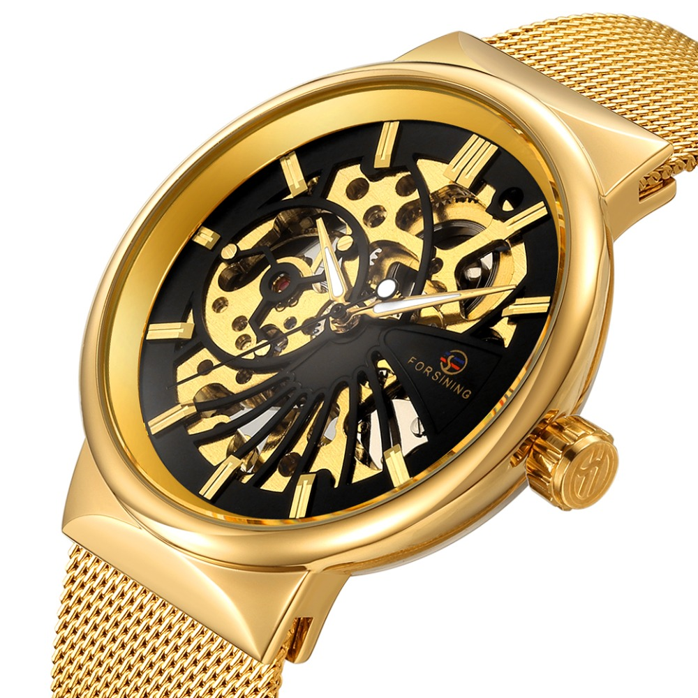 FORSINING Golden Skeleton Mechanical Watches Men Luxury Brand Watch Automatic Stainless Steel Casual Wristwatch Hollow Out Clock цена