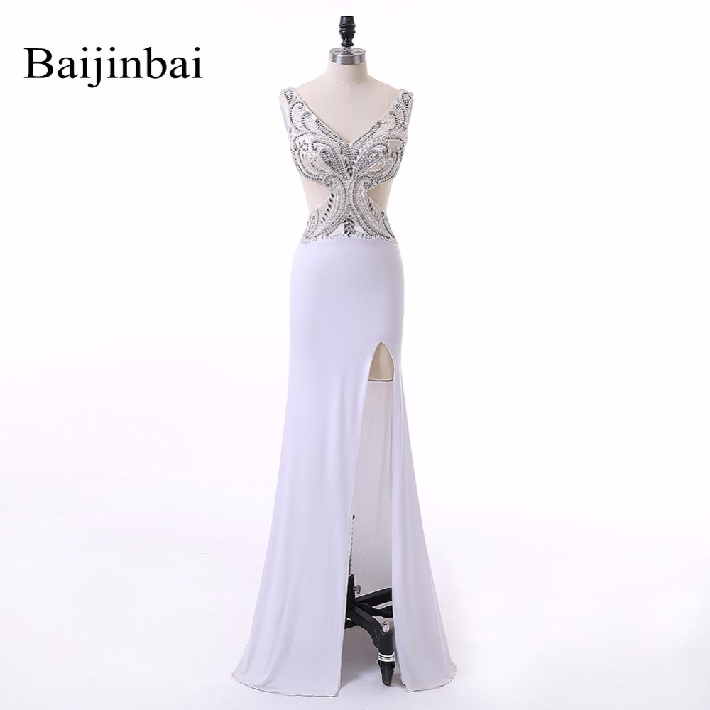 Baijinbai New Style Abendkleider Mermaid White Party Prom Dresses 2018 Floor-Length Chiffon V Neck Luxury Beads Crystals 530