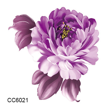 1 Sheet Purple Flower Tattoo Sticker 2018 Body Art Decorations Pink