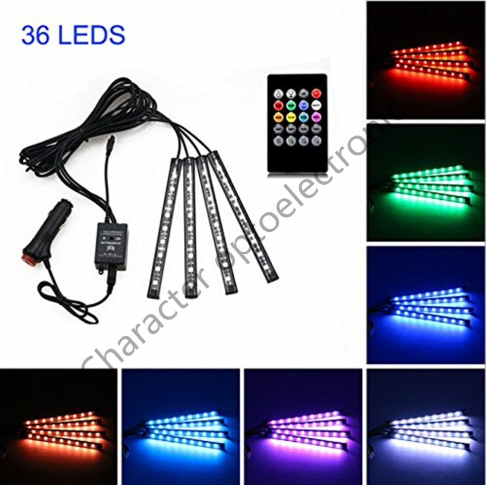 Car LED Strip Light,4pcs 36/48 DC 12V Multicolor Music Interior Light Function and Wireless Remote Control, Charger