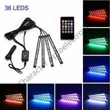 цена на Car LED Strip Light,4pcs 36/48 LED DC 12V Multicolor Music Car Interior Light Function and Wireless Remote Control, Car Charger