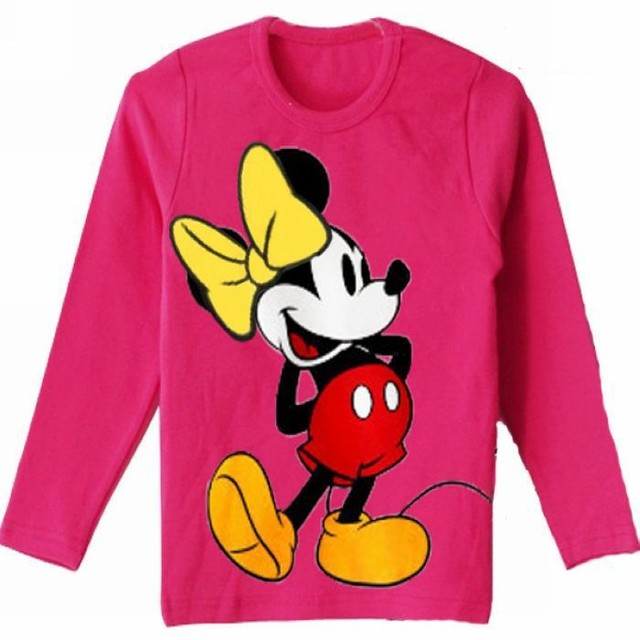 Free Shipping Girls Kids Long-sleeve t-shirts Child Children cartoon Short Top T shirt Little Spring