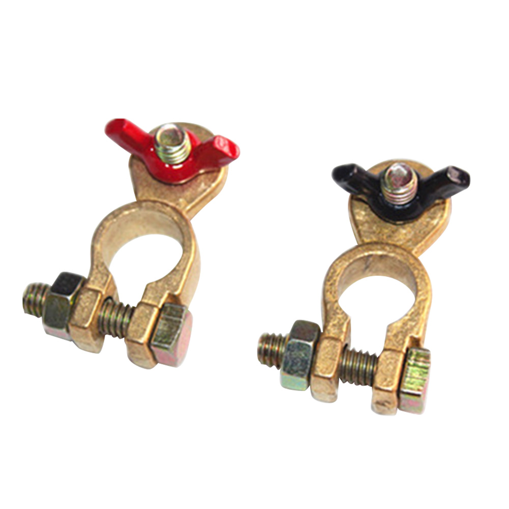 1 Pair Positive & Nagative Car Battery Terminal Clamp Clip Brass Connector red + black
