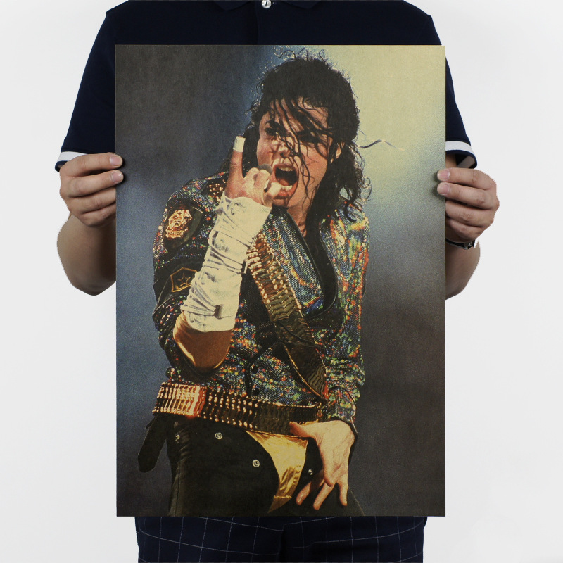 Michael Jackson D Models Retro Star Kraft Paper Poster Wall Stickers 51x35.5cm