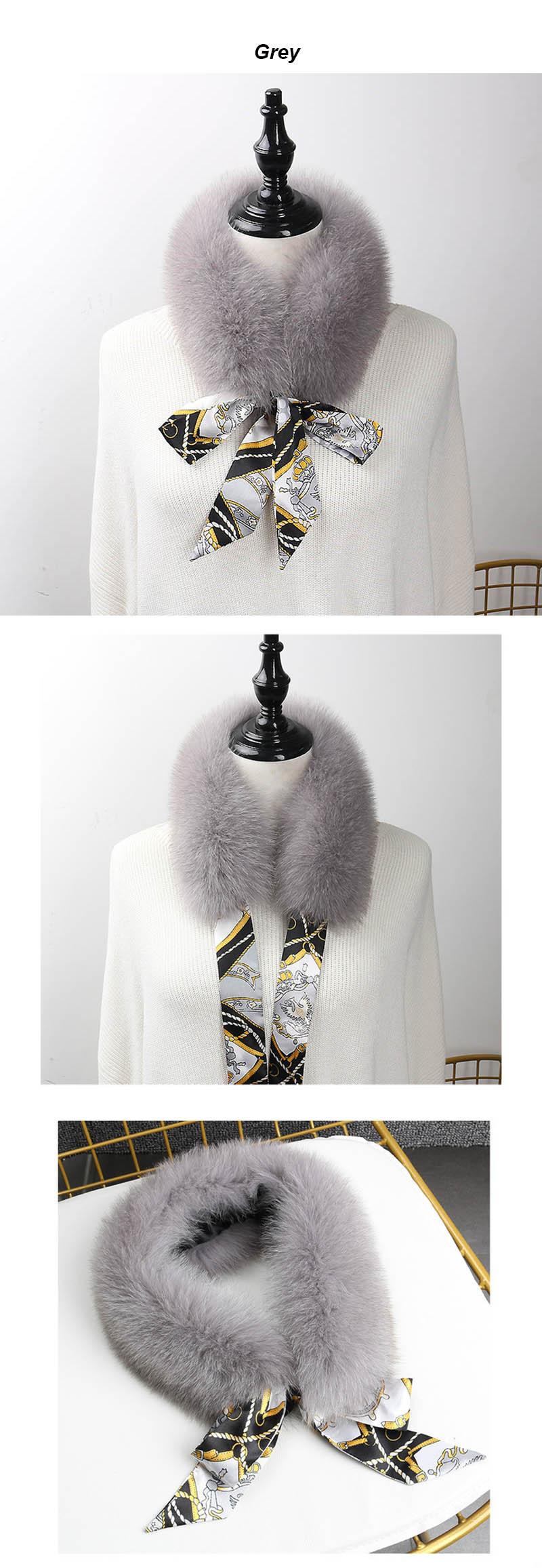 fox fur scarf with ribbon light grey